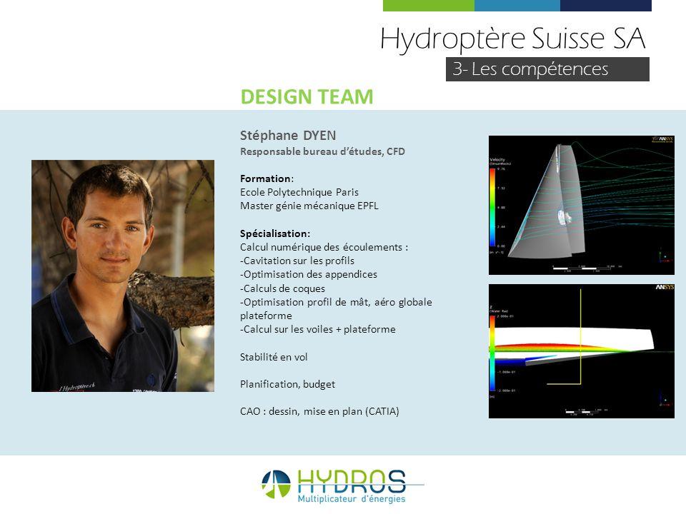 Hydroptère Suisse SA DESIGN TEAM 3- Les compétences Stéphane DYEN