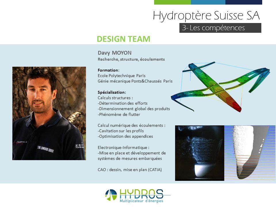 Hydroptère Suisse SA DESIGN TEAM 3- Les compétences Davy MOYON