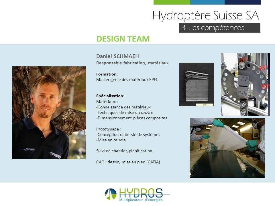Hydroptère Suisse SA DESIGN TEAM 3- Les compétences Daniel SCHMAEH