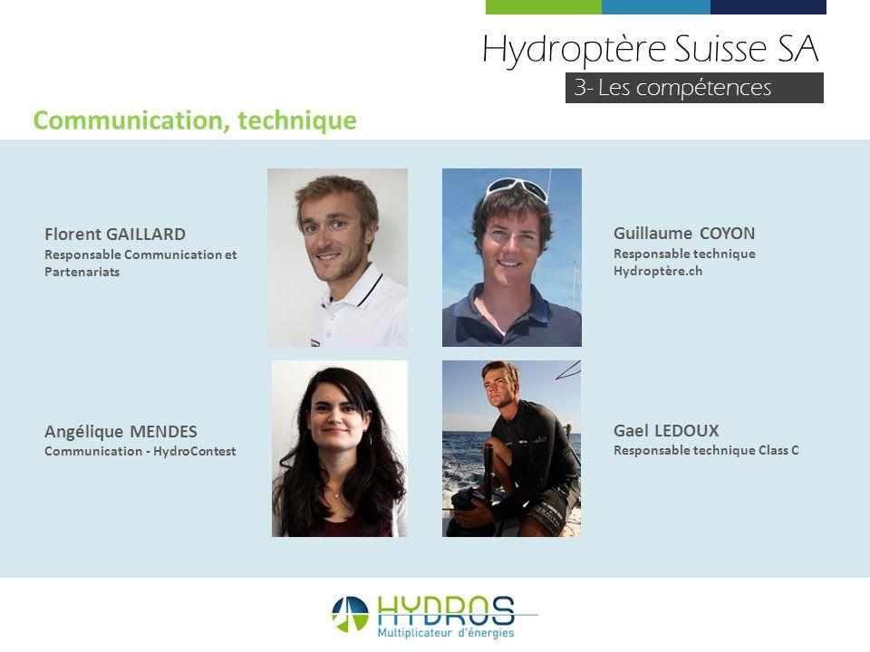 Hydroptère Suisse SA Communication, technique 3- Les compétences