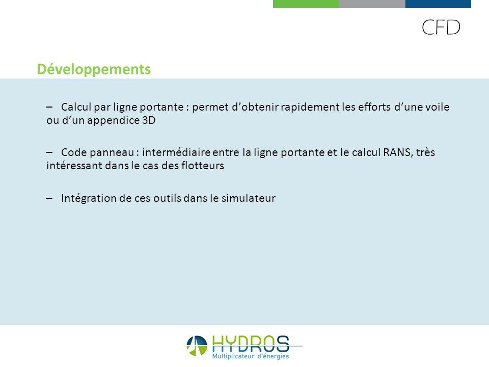 CFD Développements. Calcul par ligne portante : permet d'obtenir rapidement les efforts d'une voile ou d'un appendice 3D.