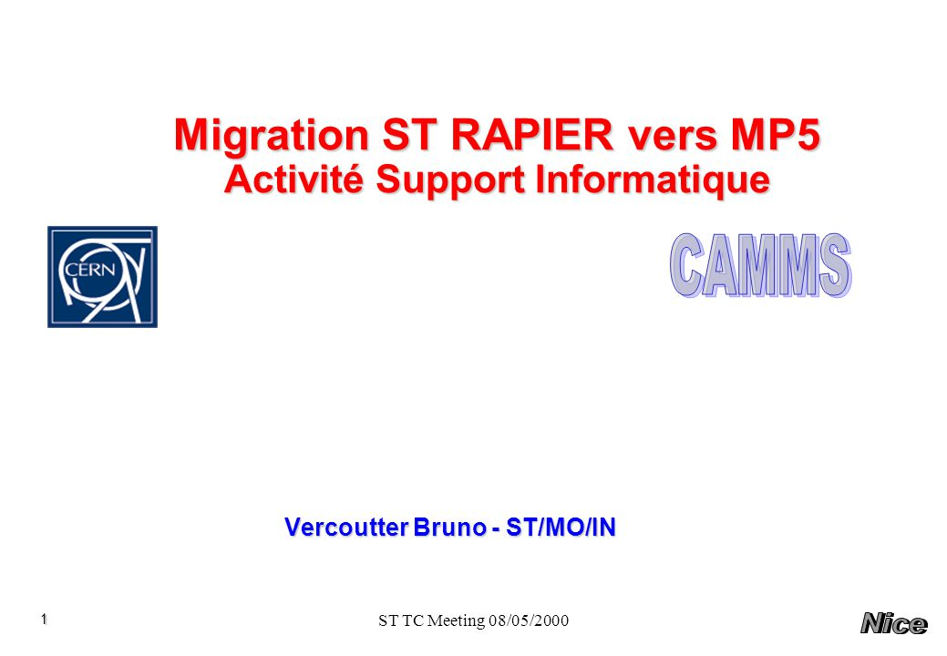 Migration ST RAPIER vers MP5 Activité Support Informatique