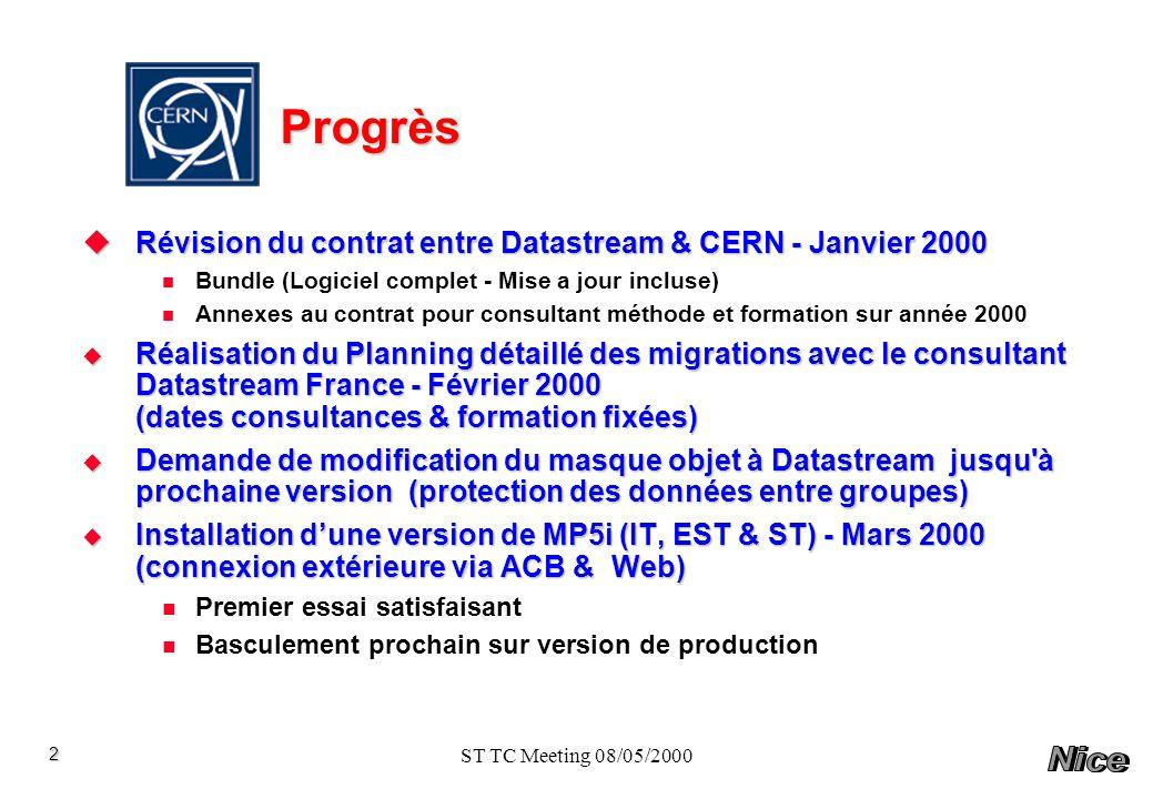 Progrès Révision du contrat entre Datastream & CERN - Janvier 2000