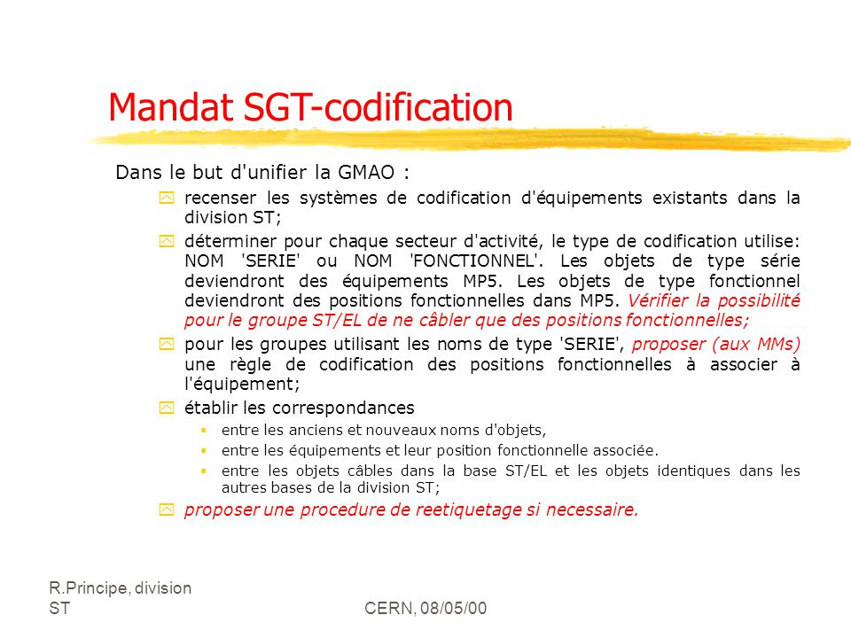 Mandat SGT-codification