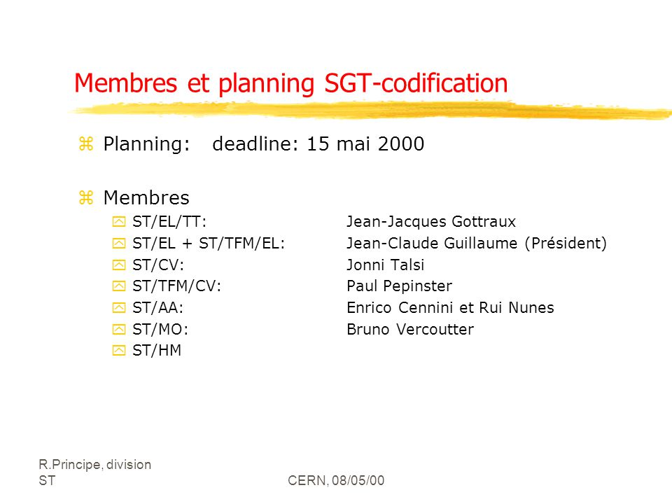 Membres et planning SGT-codification
