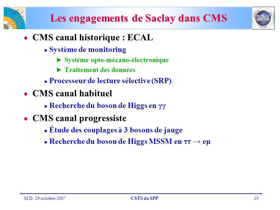 Les engagements de Saclay dans CMS
