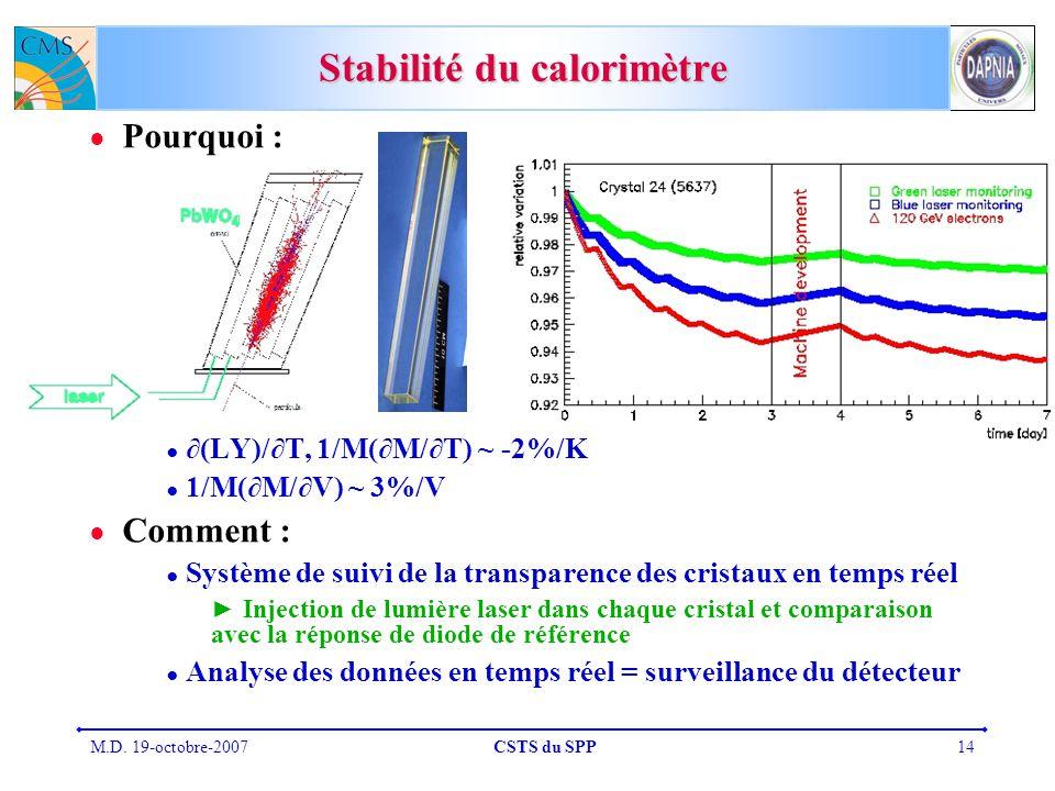 Stabilité du calorimètre