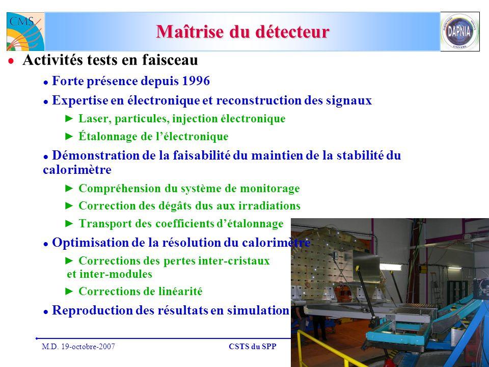Maîtrise du détecteur Activités tests en faisceau