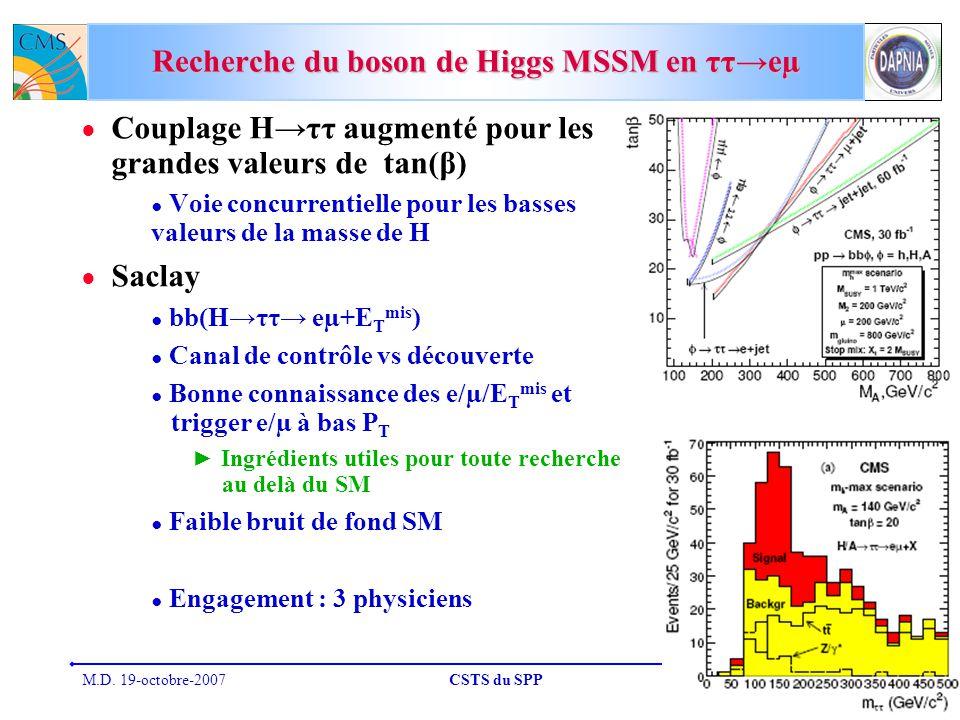 Recherche du boson de Higgs MSSM en ττ→eµ