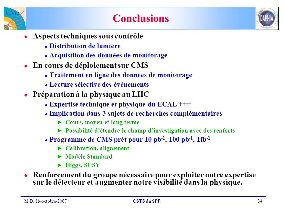 Conclusions Aspects techniques sous contrôle