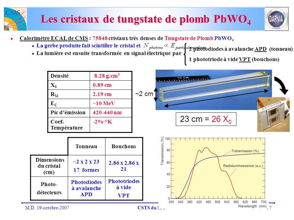 Les cristaux de tungstate de plomb PbWO4