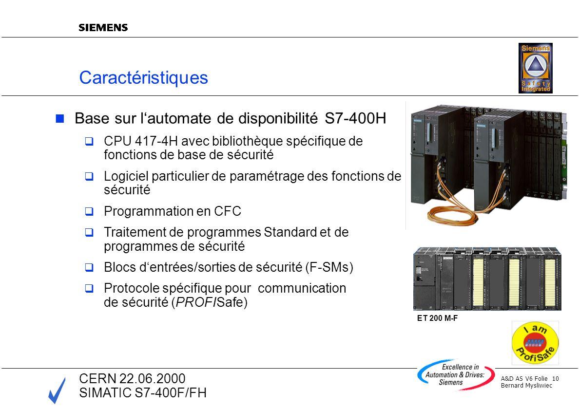 Caractéristiques Base sur l'automate de disponibilité S7-400H