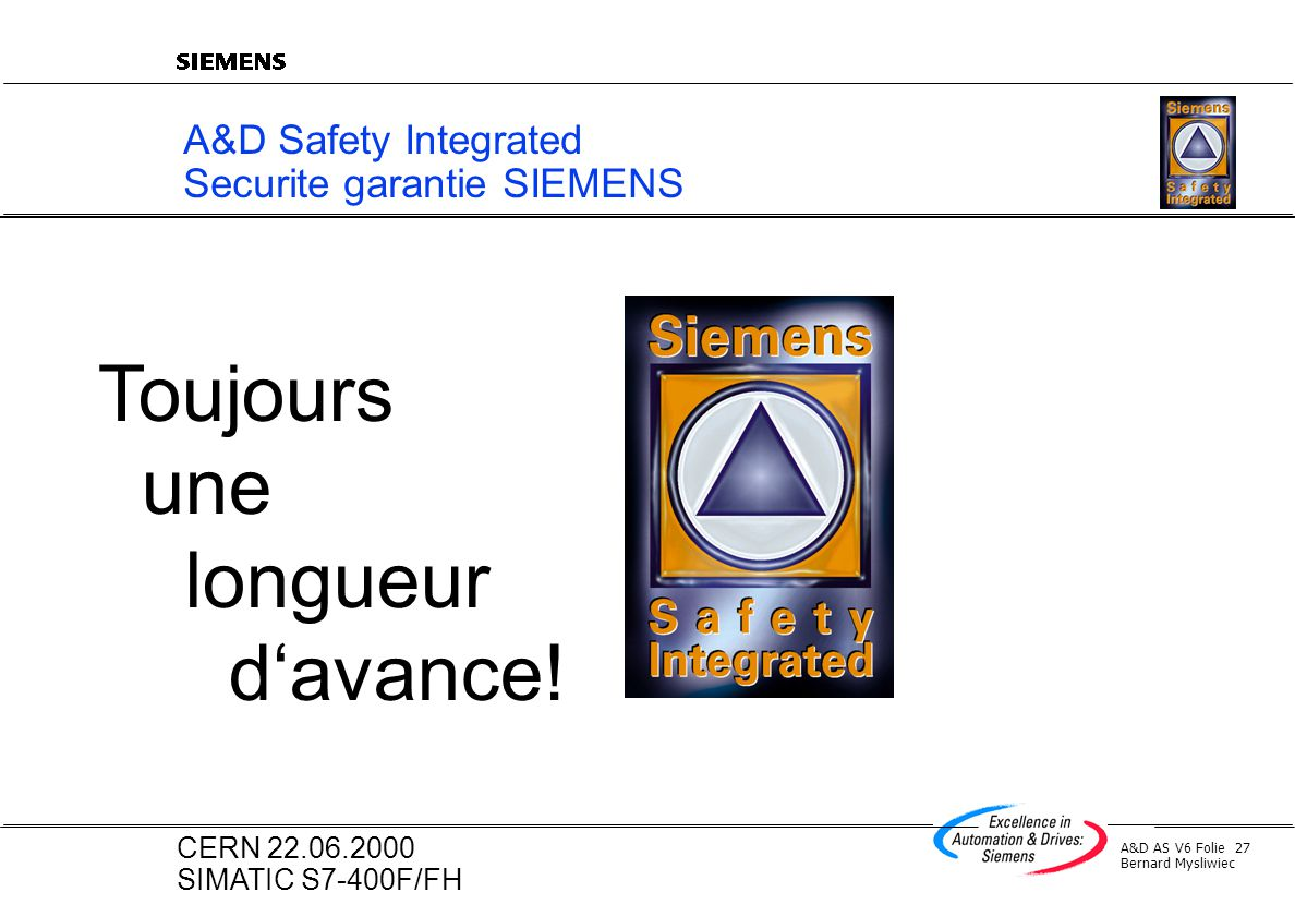 A&D Safety Integrated Securite garantie SIEMENS