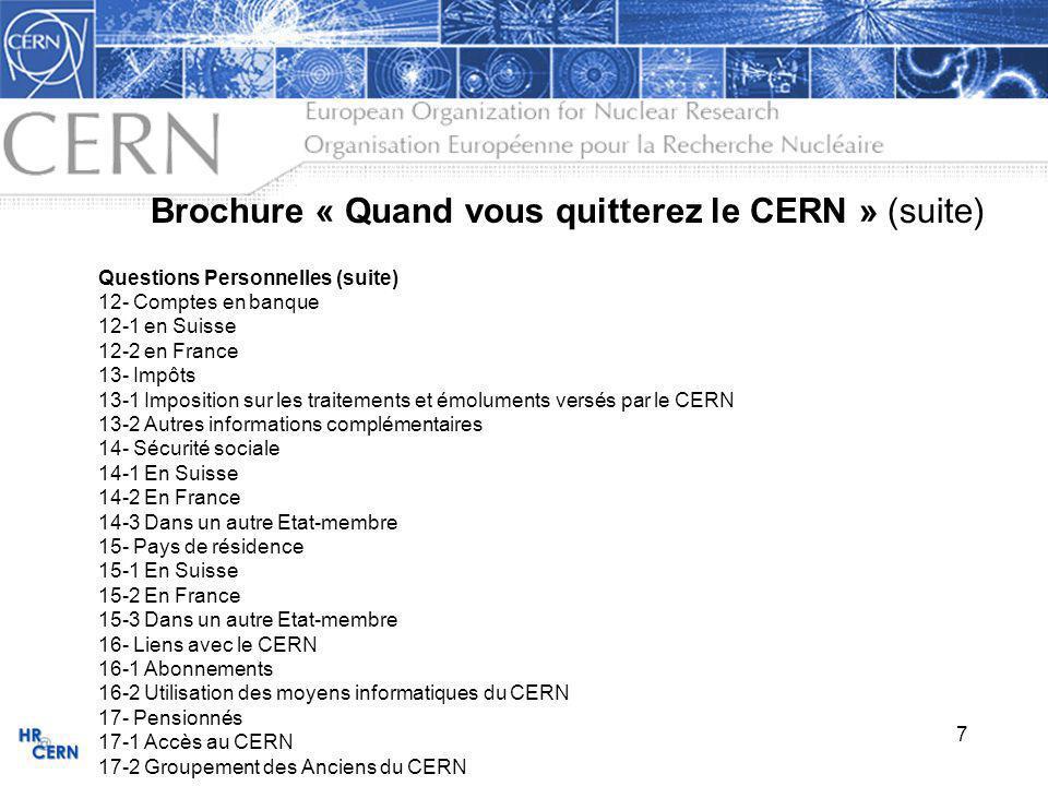 Brochure « Quand vous quitterez le CERN » (suite)