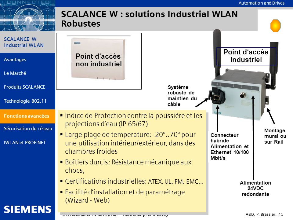 SCALANCE W : solutions Industrial WLAN Robustes