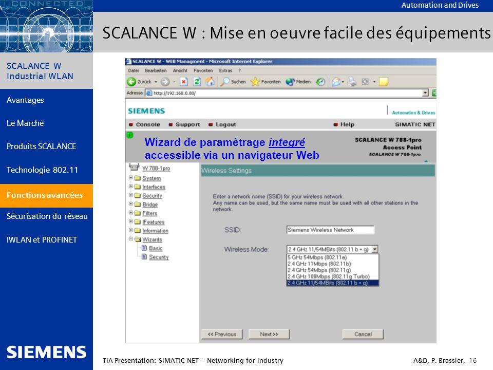 SCALANCE W : Mise en oeuvre facile des équipements