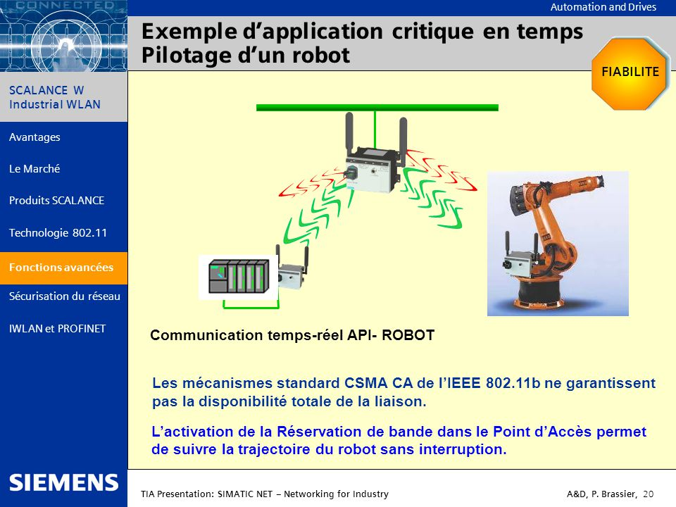 Exemple d'application critique en temps Pilotage d'un robot