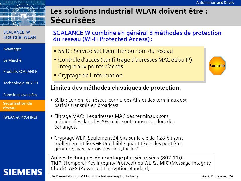Les solutions Industrial WLAN doivent être : Sécurisées