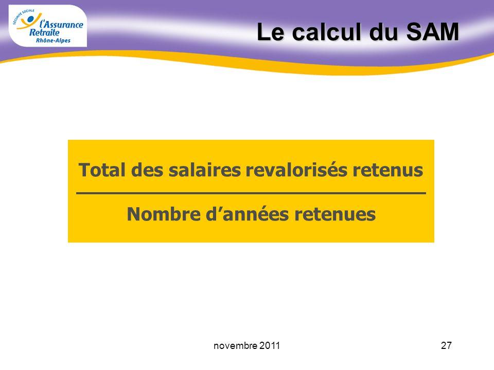 Total des salaires revalorisés retenus Nombre d'années retenues