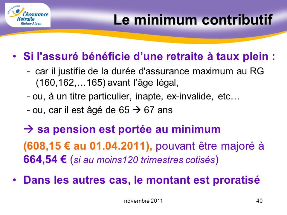 Le minimum contributif