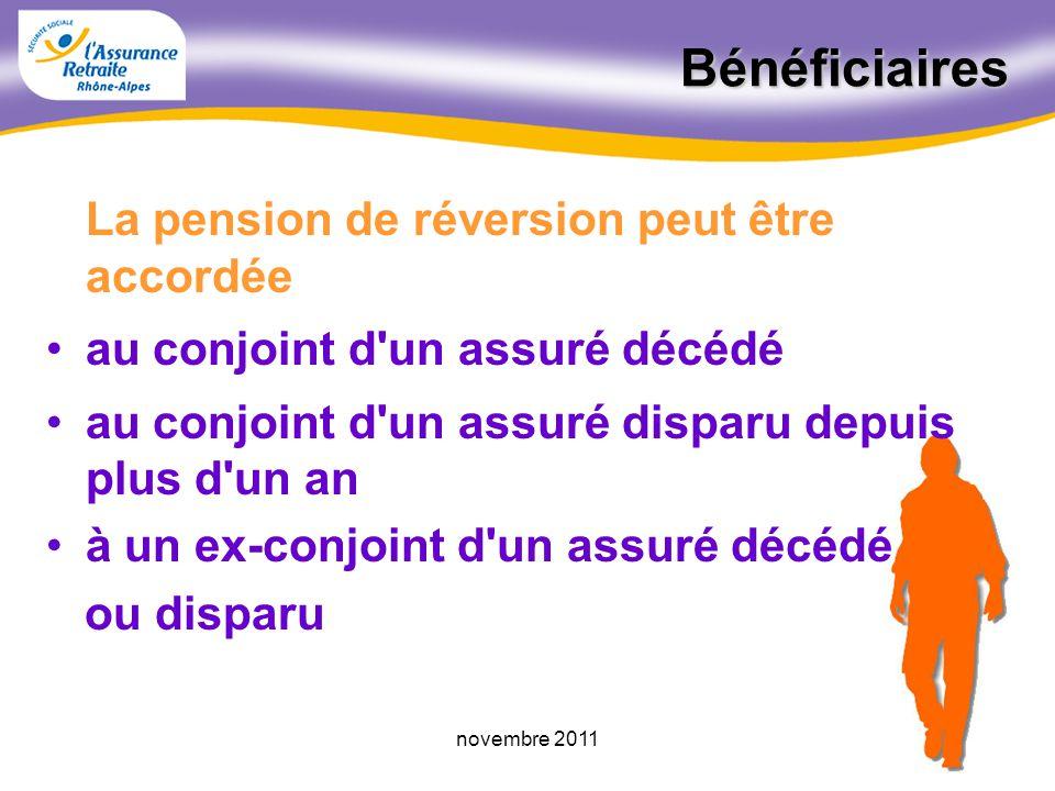 Bénéficiaires La pension de réversion peut être accordée