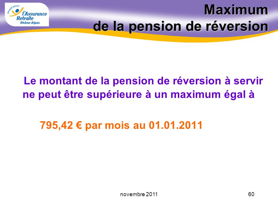 Maximum de la pension de réversion