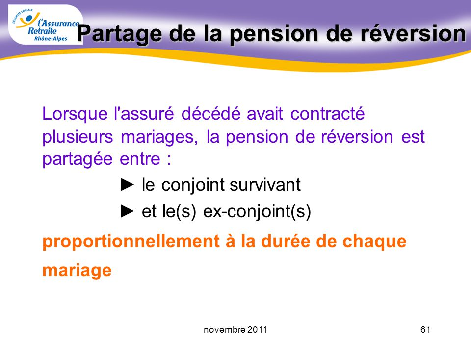 Partage de la pension de réversion