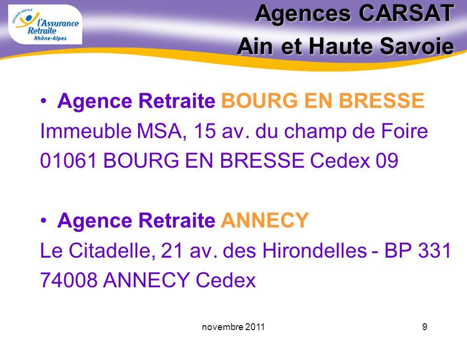 Agences CARSAT Ain et Haute Savoie