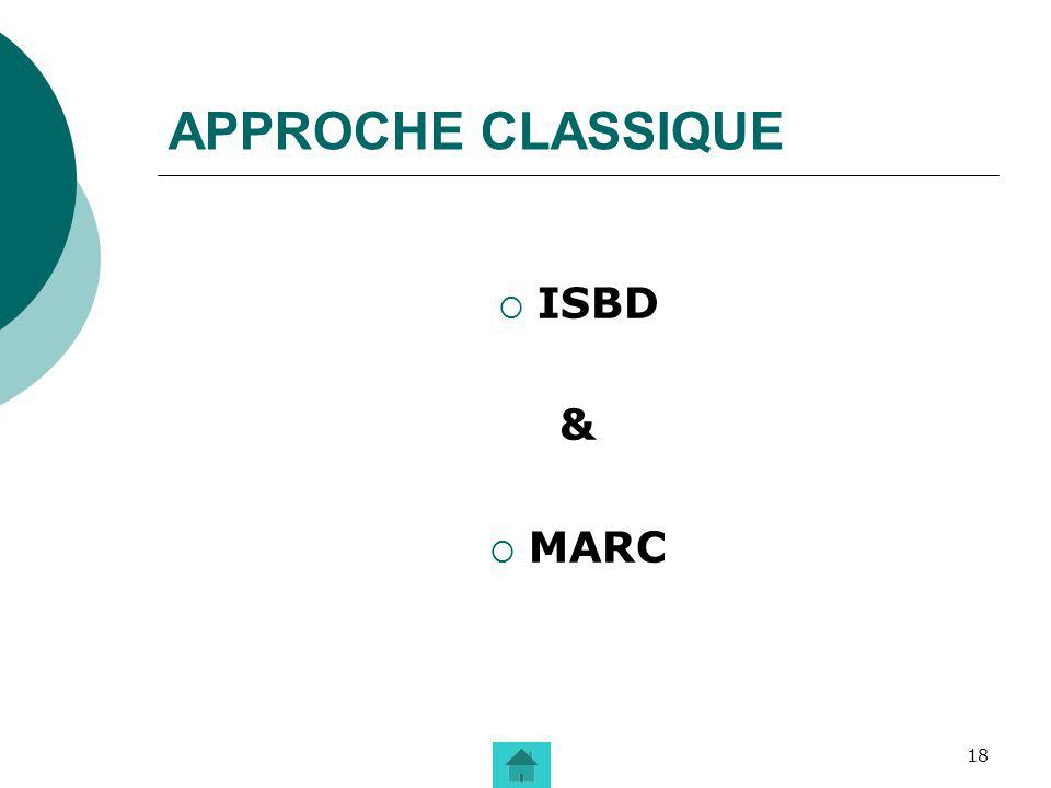 APPROCHE CLASSIQUE ISBD & MARC
