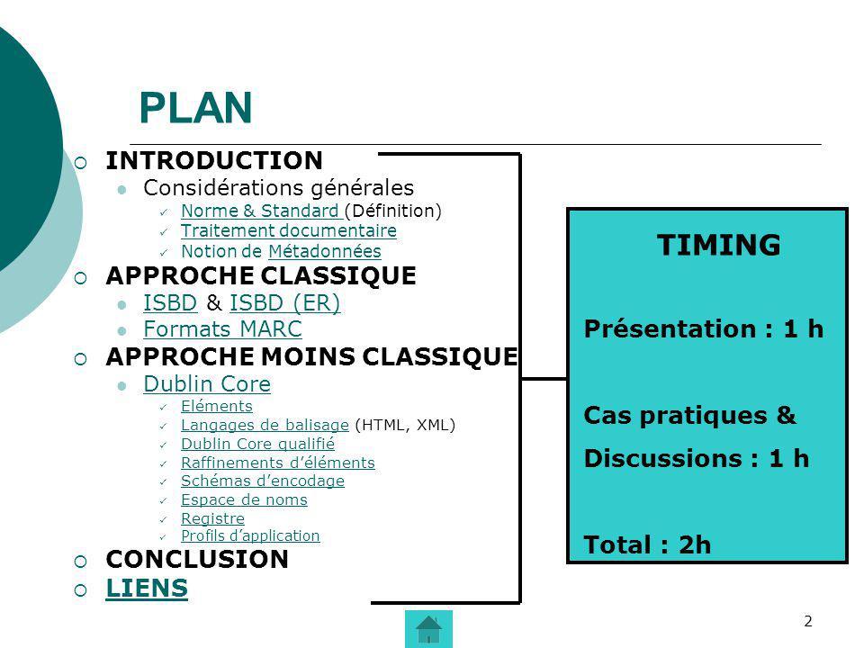 PLAN TIMING INTRODUCTION APPROCHE CLASSIQUE APPROCHE MOINS CLASSIQUE