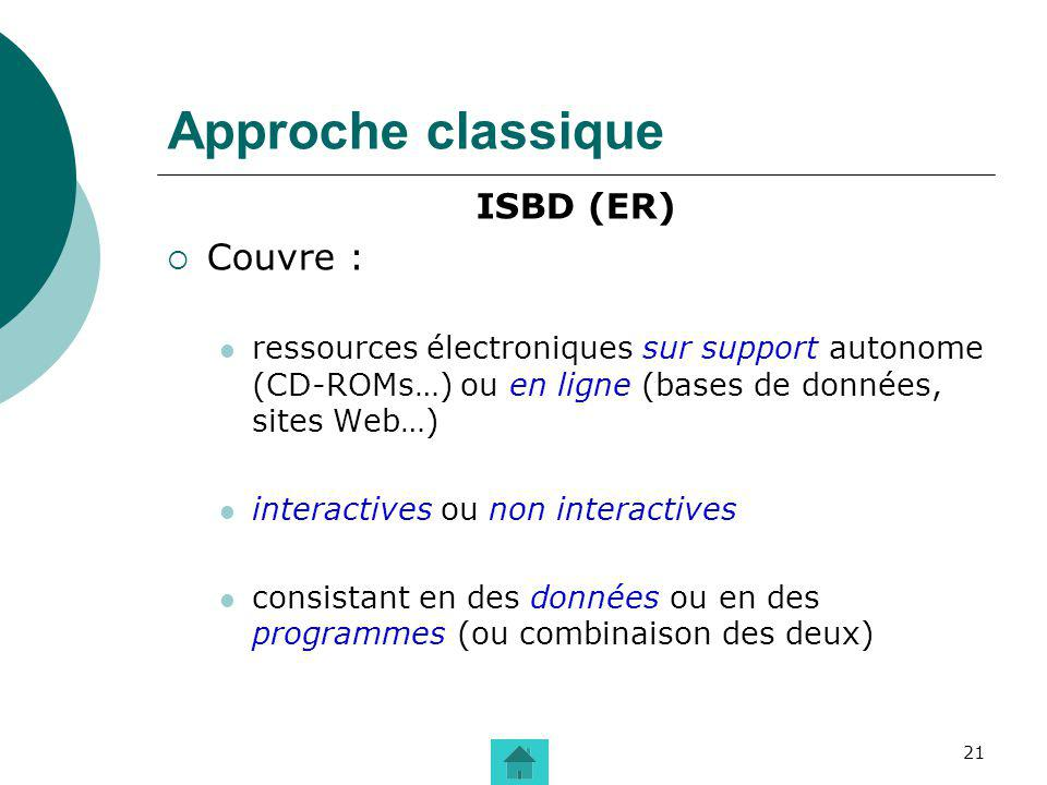 Approche classique Couvre : ISBD (ER)