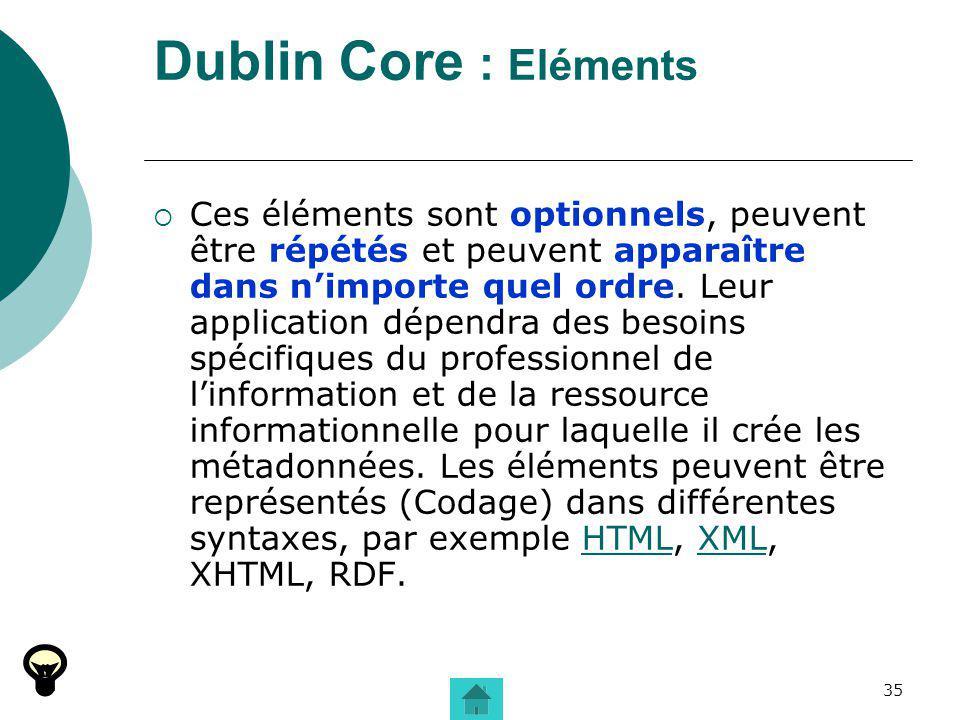 Dublin Core : Eléments