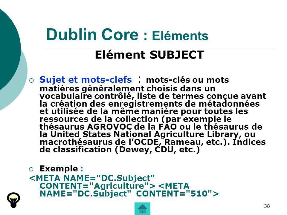 Dublin Core : Eléments Elément SUBJECT