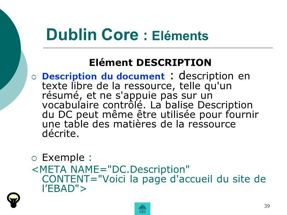 Dublin Core : Eléments Exemple :