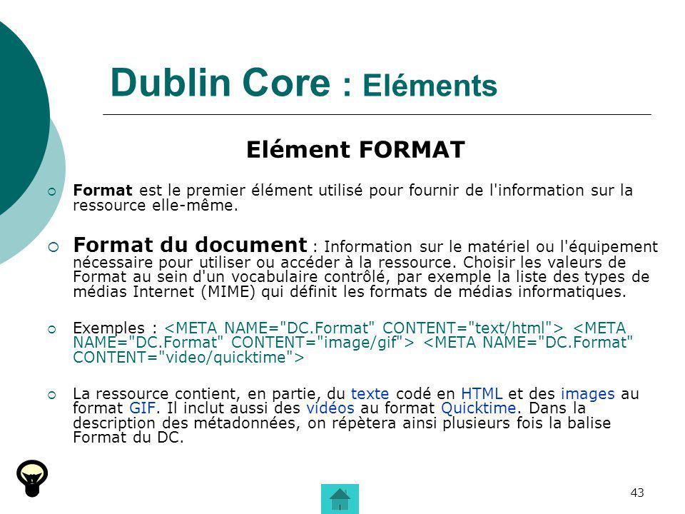 Dublin Core : Eléments Elément FORMAT