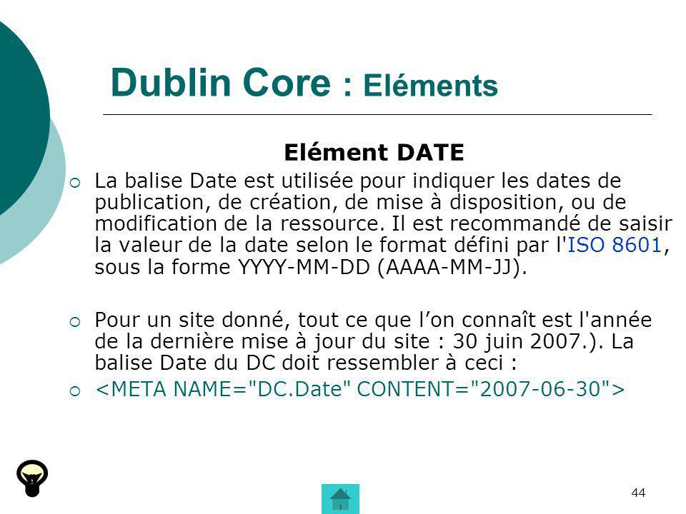 Dublin Core : Eléments Elément DATE