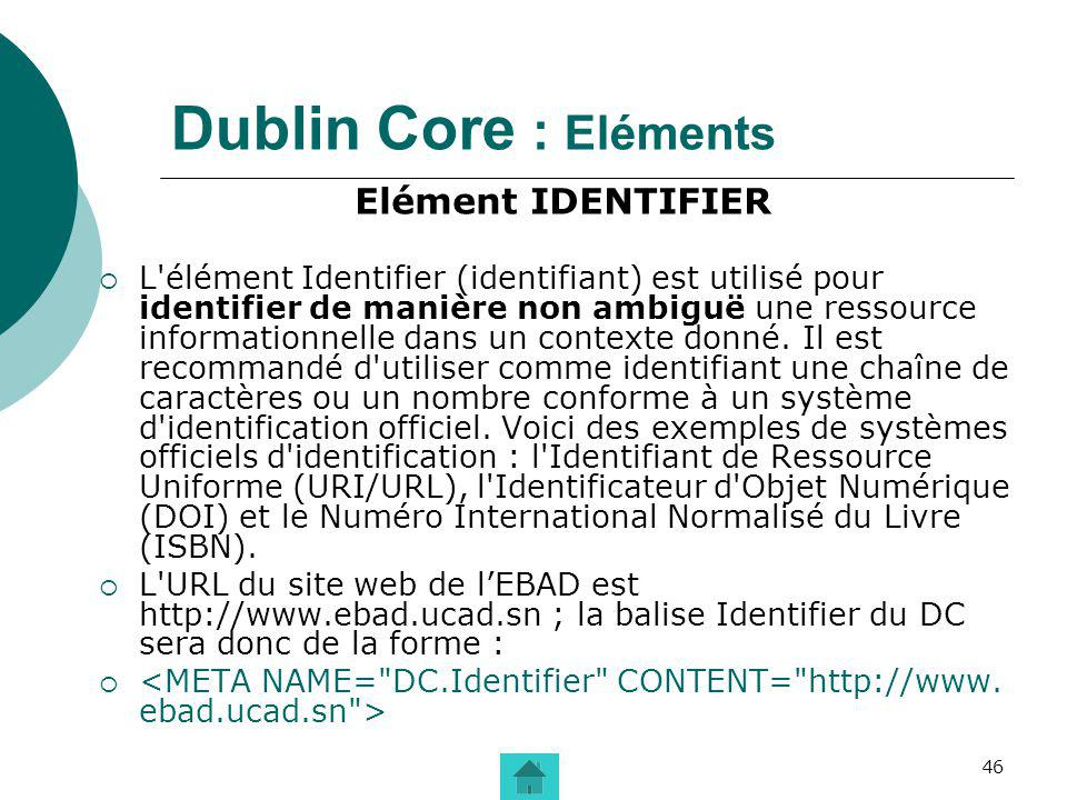 Dublin Core : Eléments Elément IDENTIFIER