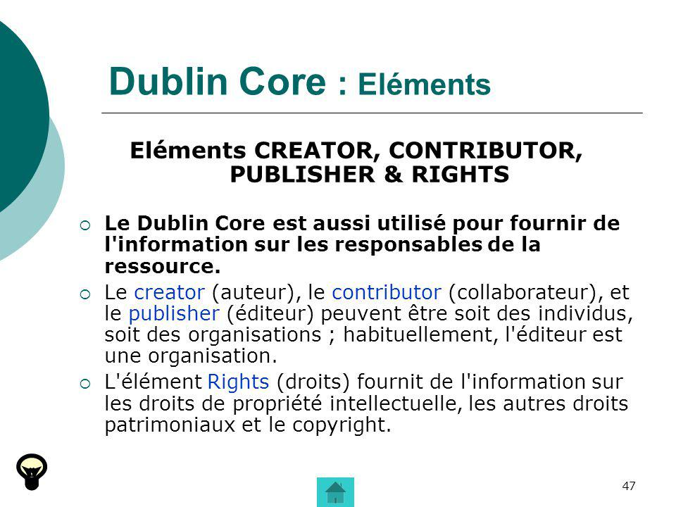 Eléments CREATOR, CONTRIBUTOR, PUBLISHER & RIGHTS