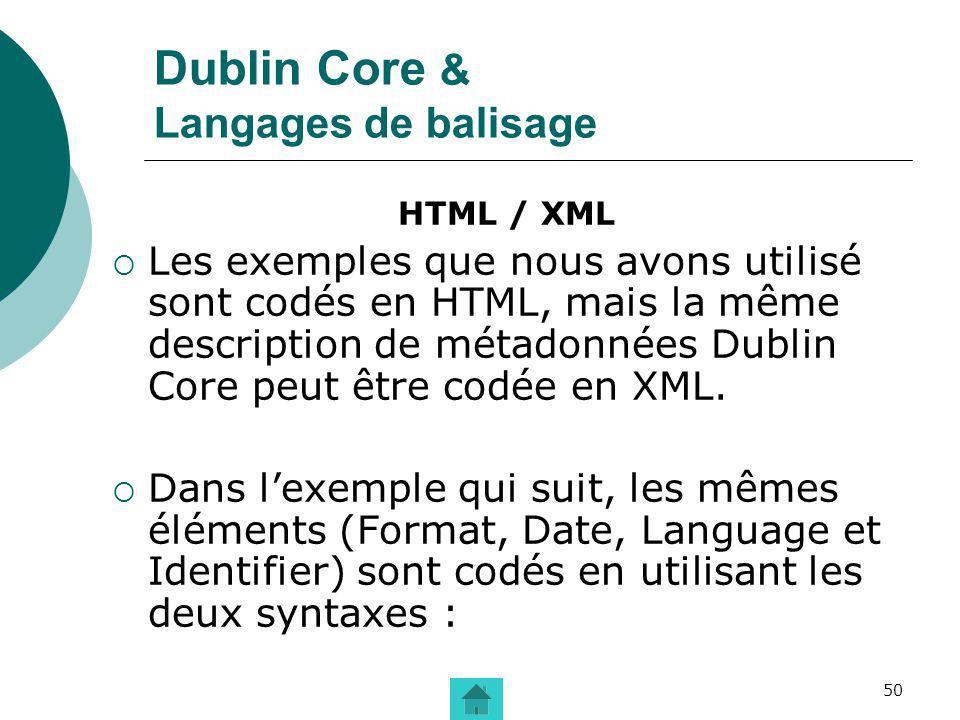 Dublin Core & Langages de balisage