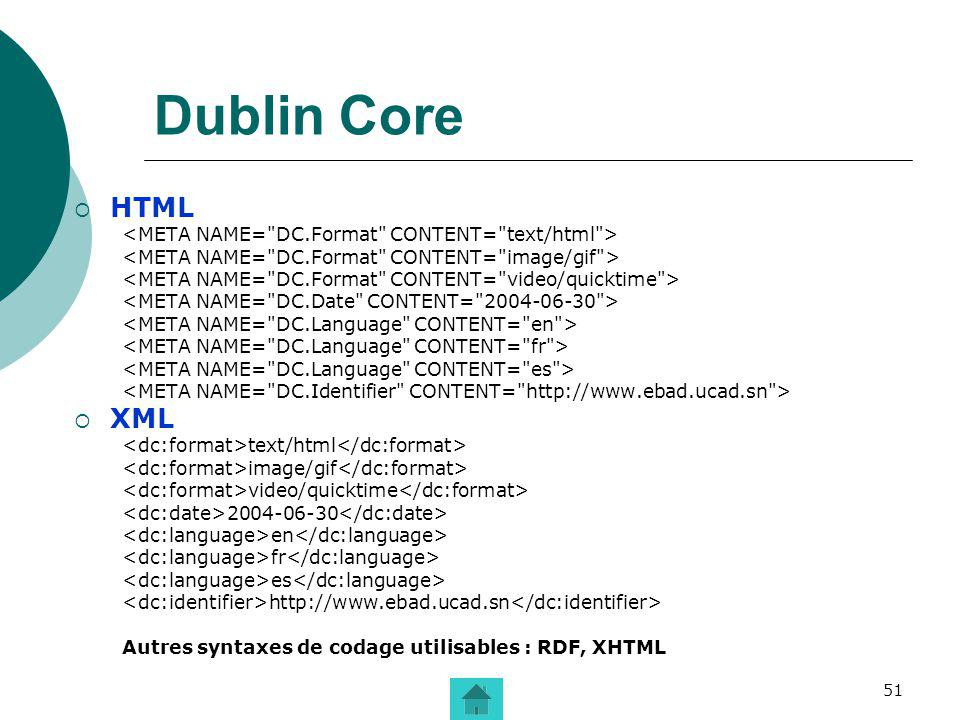 Dublin Core HTML XML <META NAME= DC.Format CONTENT= text/html >