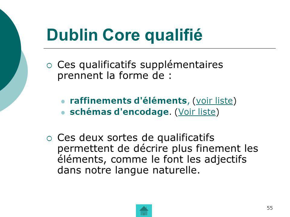 Dublin Core qualifié Ces qualificatifs supplémentaires prennent la forme de : raffinements d éléments, (voir liste)