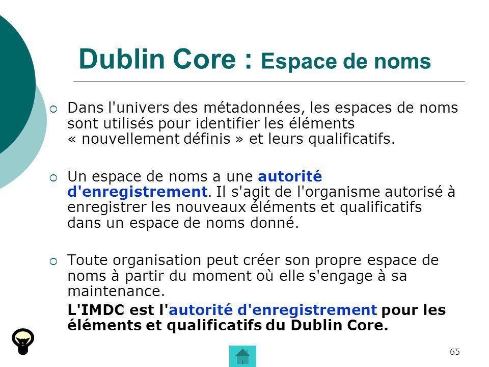 Dublin Core : Espace de noms