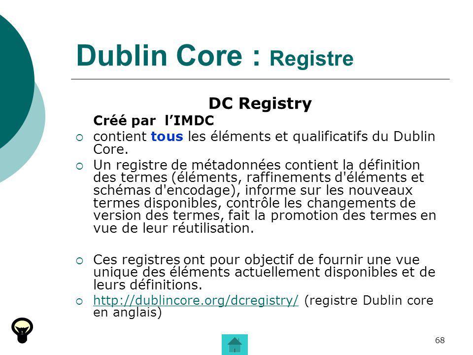 Dublin Core : Registre DC Registry Créé par l'IMDC
