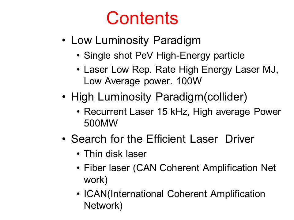 Contents Low Luminosity Paradigm High Luminosity Paradigm(collider)