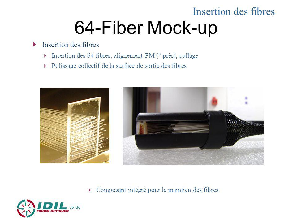 64-Fiber Mock-up Insertion des fibres Insertion des fibres