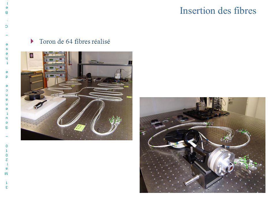 Insertion des fibres Toron de 64 fibres réalisé