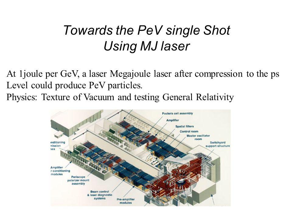 Towards the PeV single Shot Using MJ laser