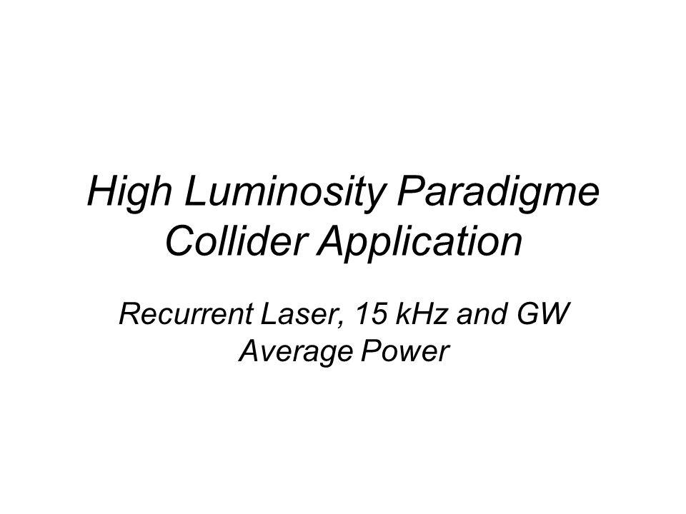 High Luminosity Paradigme Collider Application