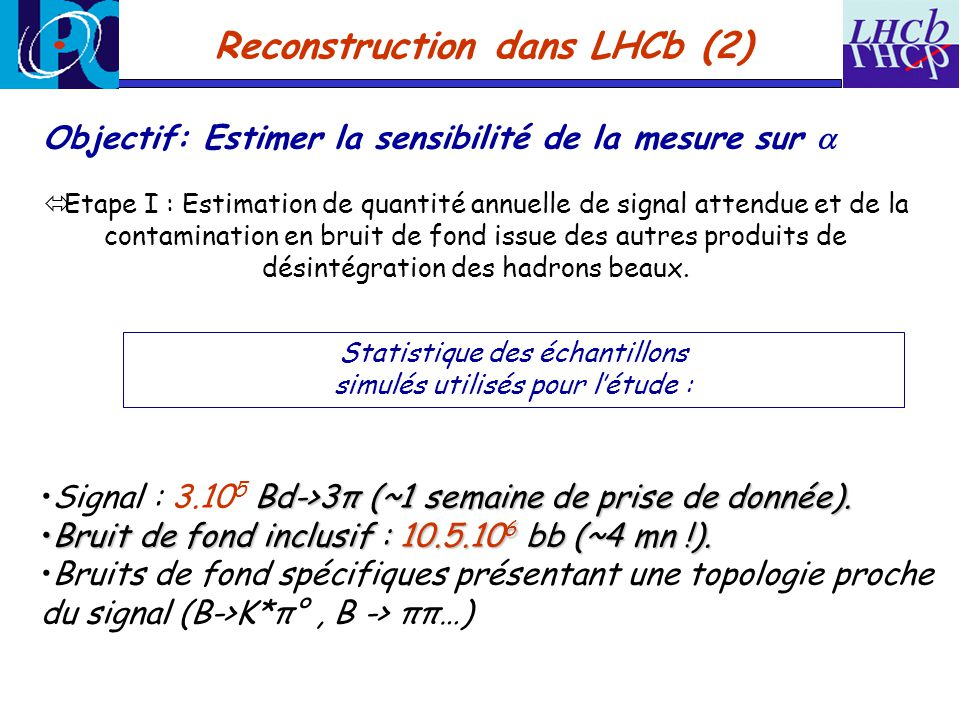 Reconstruction dans LHCb (2)