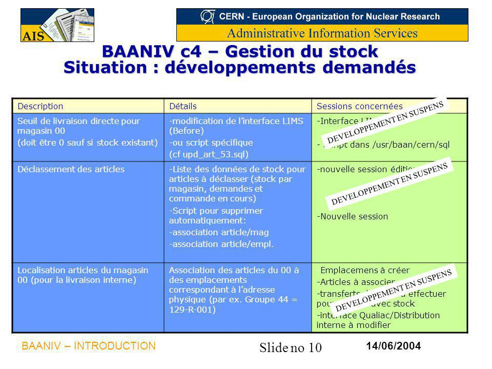 BAANIV c4 – Gestion du stock Situation : développements demandés